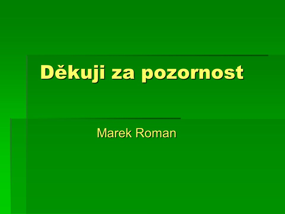 Děkuji za pozornost Marek Roman