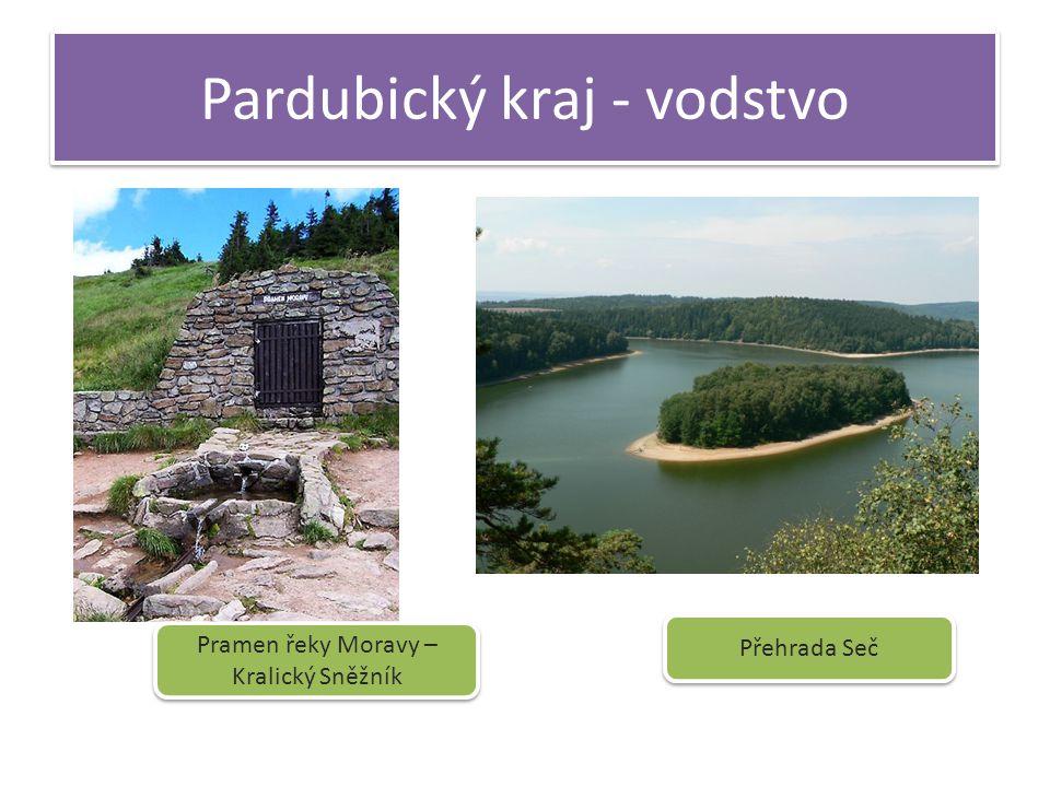 Pardubický kraj - vodstvo Přehrada Seč Pramen řeky Moravy – Kralický Sněžník