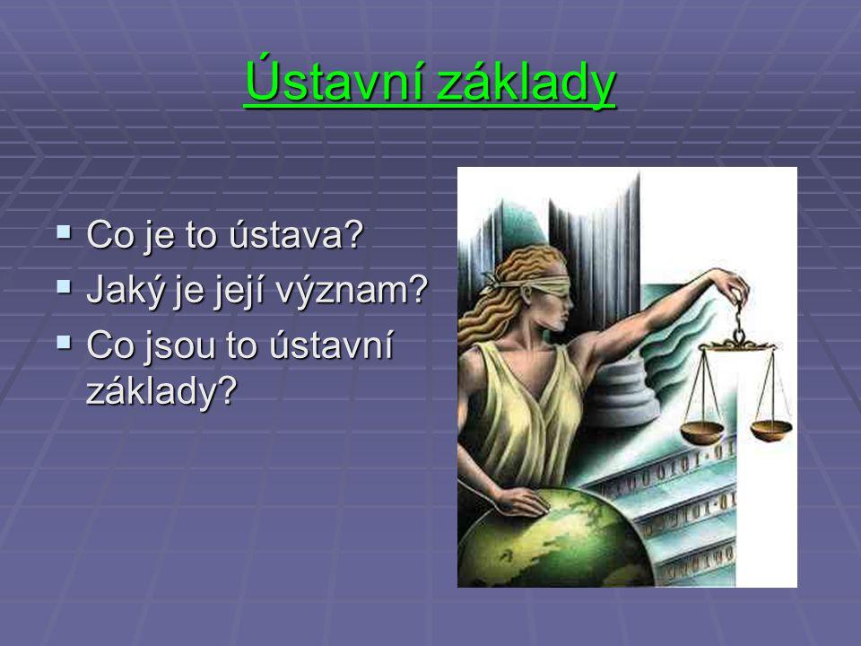 Ústavní základy  Co je to ústava?  Jaký je její význam?  Co jsou to ústavní základy?