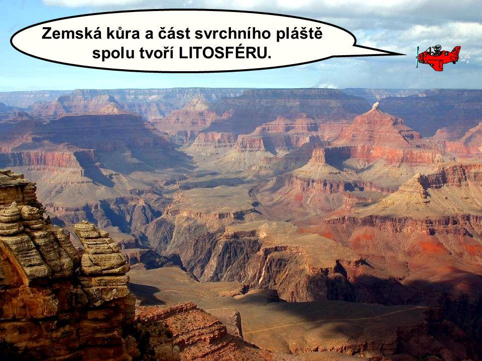 Zemská kůra a část svrchního pláště spolu tvoří LITOSFÉRU.