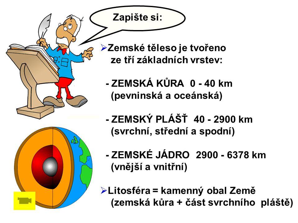 Zapište si:  Zemské těleso je tvořeno ze tří základních vrstev: - ZEMSKÁ KŮRA 0 - 40 km (pevninská a oceánská) - ZEMSKÝ PLÁŠŤ 40 - 2900 km (svrchní, střední a spodní) - ZEMSKÉ JÁDRO 2900 - 6378 km (vnější a vnitřní)  Litosféra = kamenný obal Země (zemská kůra + část svrchního pláště)