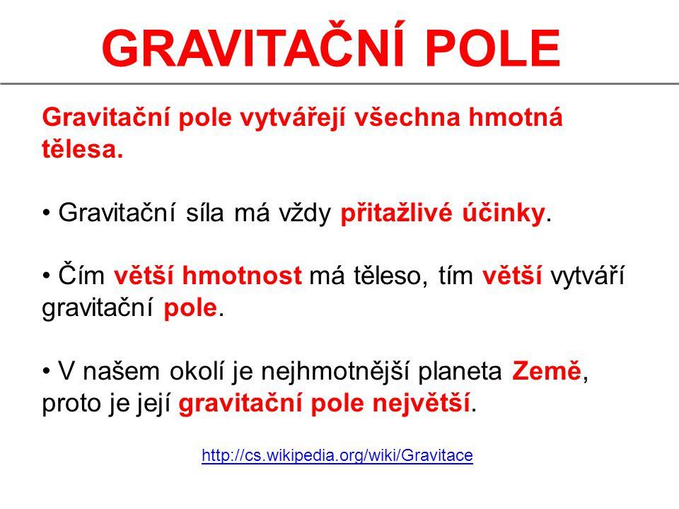 GRAVITAČNÍ POLE Gravitační pole působí na všechna hmotná tělesa gravitační přitažlivou silou, která je tím větší, čím větší hmotnost má těleso.