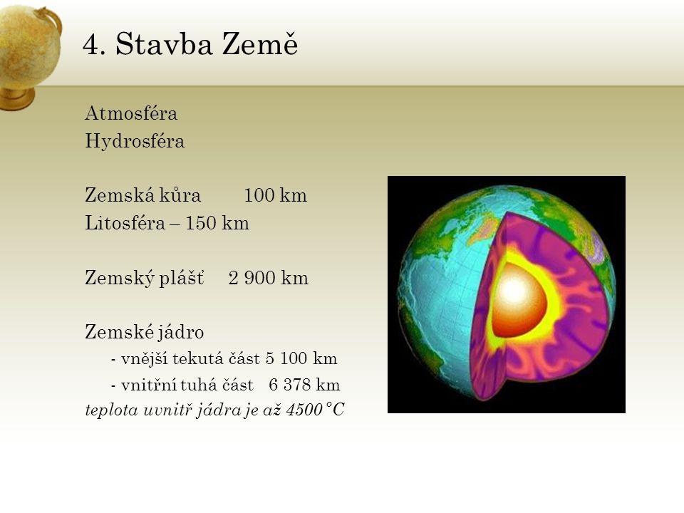 4. Stavba Země Atmosféra Hydrosféra Zemská kůra 100 km Litosféra – 150 km Zemský plášť 2 900 km Zemské jádro - vnější tekutá část 5 100 km - vnitřní t