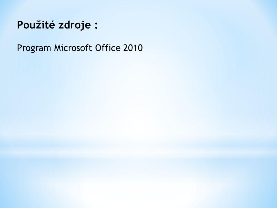 Použité zdroje : Program Microsoft Office 2010