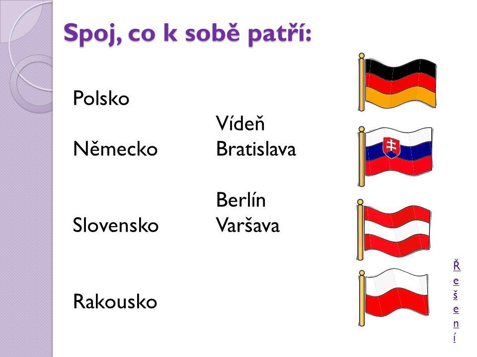 Spoj, co k sobě patří: Polsko Vídeň NěmeckoBratislava Berlín SlovenskoVaršava Rakousko ŘešeníŘešení