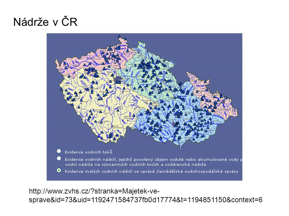 Nádrže v ČR http://www.zvhs.cz/?stranka=Majetek-ve- sprave&id=73&uid=1192471584737fb0d17774&t=1194851150&context=6