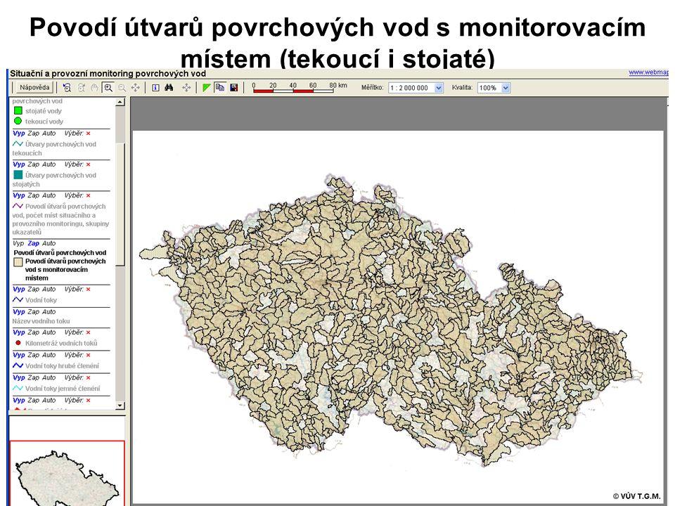 Povodí útvarů povrchových vod s monitorovacím místem (tekoucí i stojaté)