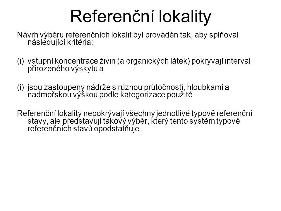 Referenční lokality Návrh výběru referenčních lokalit byl prováděn tak, aby splňoval následující kritéria: (i)vstupní koncentrace živin (a organických