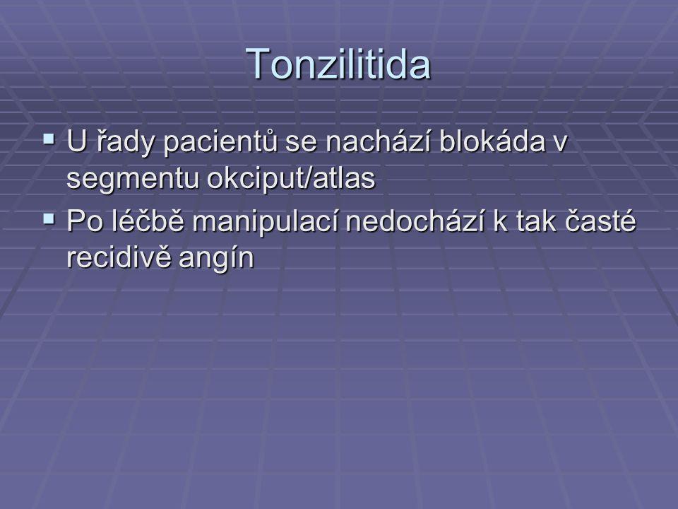 Tonzilitida  U řady pacientů se nachází blokáda v segmentu okciput/atlas  Po léčbě manipulací nedochází k tak časté recidivě angín