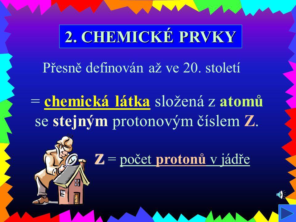 1. SLOŽENÍ LÁTEK proton = kladná částice p+p+ neutron = bez náboje n0n0 elektron = záporný náboj e-e- JÁDRO OBAL Začátkem 20. století objev 3 základní