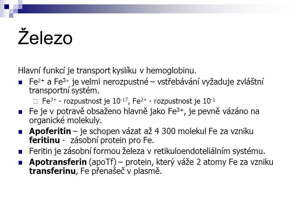 Železo Hlavní funkcí je transport kyslíku v hemoglobinu. Fe 2 + a Fe 3 + je velmi nerozpustné – vstřebávání vyžaduje zvláštní transportní systém.  Fe