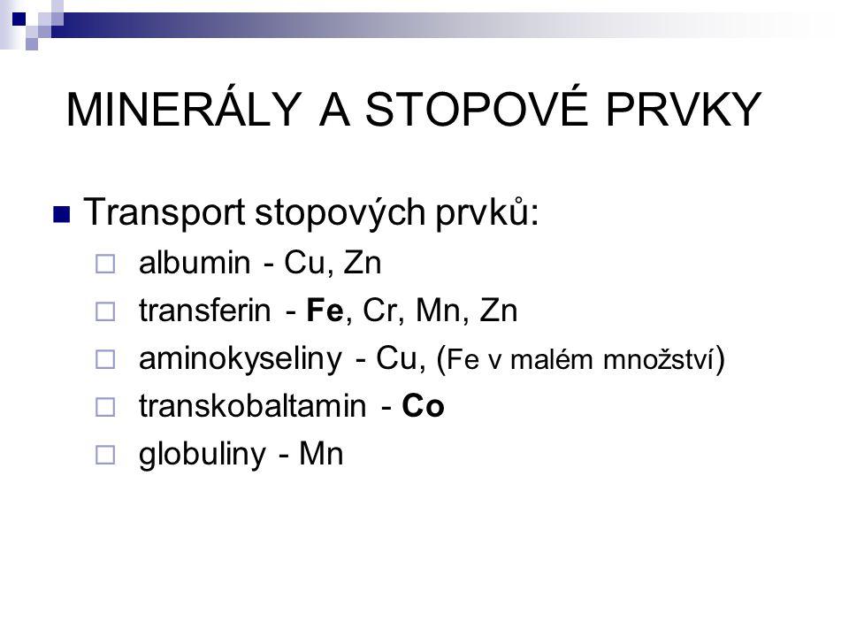 Transport stopových prvků:  albumin - Cu, Zn  transferin - Fe, Cr, Mn, Zn  aminokyseliny - Cu, ( Fe v malém množství )  transkobaltamin - Co  glo
