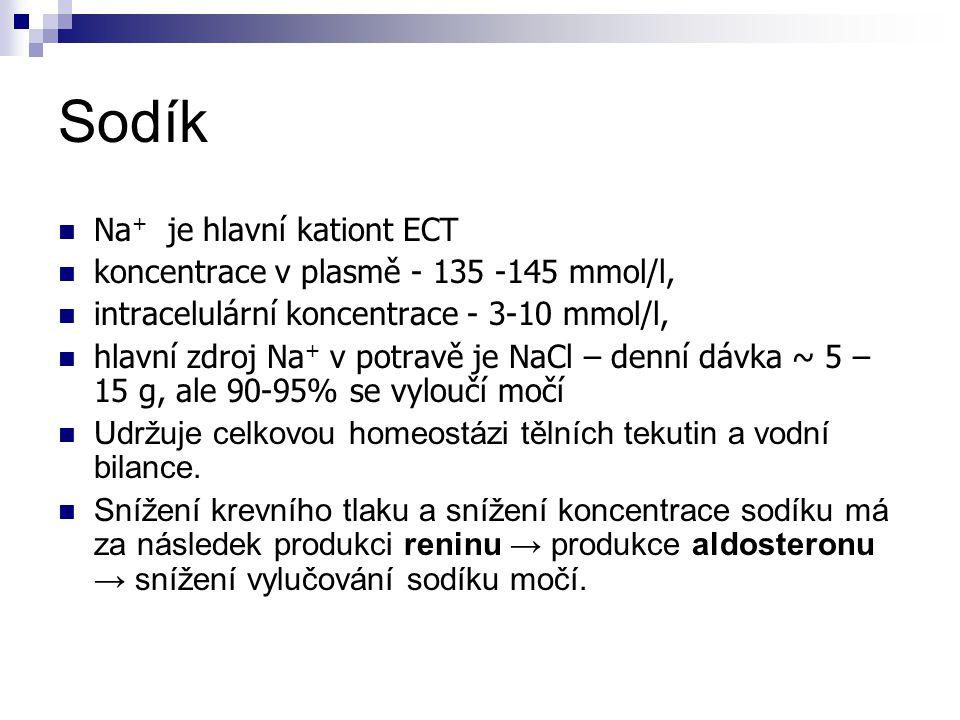 Sodík Na + je hlavní kationt ECT koncentrace v plasmě - 135 -145 mmol/l, intracelulární koncentrace - 3-10 mmol/l, hlavní zdroj Na + v potravě je NaCl