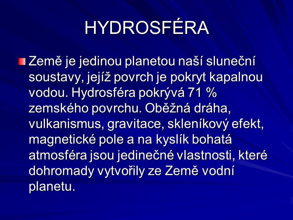 HYDROSFÉRA Země je jedinou planetou naší sluneční soustavy, jejíž povrch je pokryt kapalnou vodou. Hydrosféra pokrývá 71 % zemského povrchu. Oběžná dr