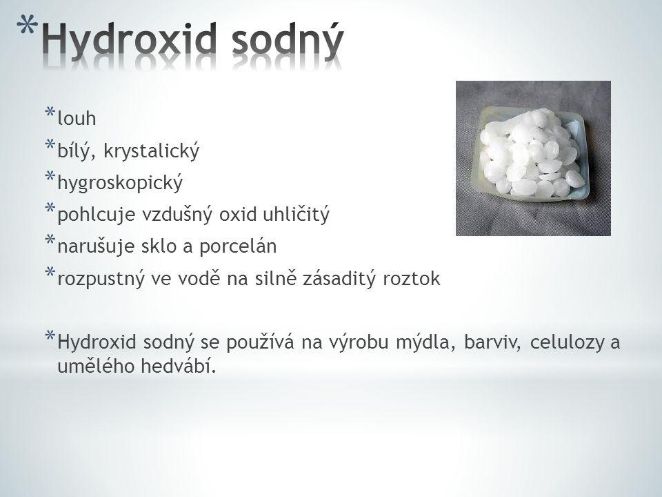 * louh * bílý, krystalický * hygroskopický * pohlcuje vzdušný oxid uhličitý * narušuje sklo a porcelán * rozpustný ve vodě na silně zásaditý roztok * Hydroxid sodný se používá na výrobu mýdla, barviv, celulozy a umělého hedvábí.