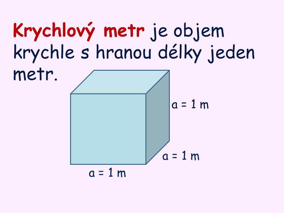 Krychlový metr je objem krychle s hranou délky jeden metr. a = 1 m