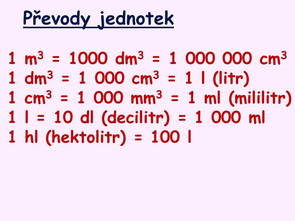 Převody jednotek 1 m 3 = 1000 dm 3 = 1 000 000 cm 3 1 dm 3 = 1 000 cm 3 = 1 l (litr) 1 cm 3 = 1 000 mm 3 = 1 ml (mililitr) 1 l = 10 dl (decilitr) = 1 000 ml 1 hl (hektolitr) = 100 l