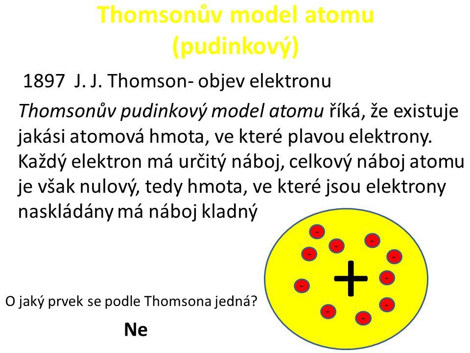 Thomsonův model atomu (pudinkový) 1897 J. J. Thomson- objev elektronu Thomsonův pudinkový model atomu říká, že existuje jakási atomová hmota, ve které