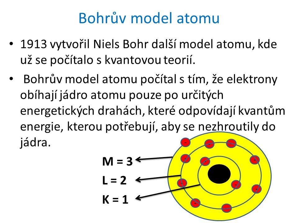 Bohrův model atomu 1913 vytvořil Niels Bohr další model atomu, kde už se počítalo s kvantovou teorií. Bohrův model atomu počítal s tím, že elektrony o