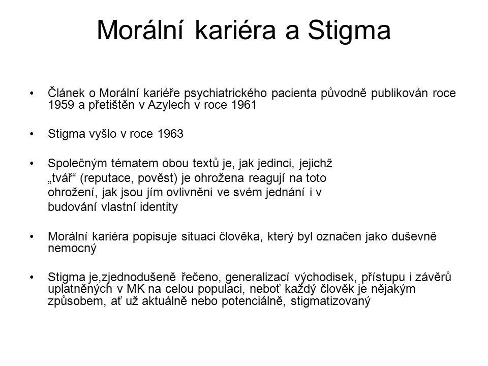 Morální kariéra a Stigma Článek o Morální kariéře psychiatrického pacienta původně publikován roce 1959 a přetištěn v Azylech v roce 1961 Stigma vyšlo