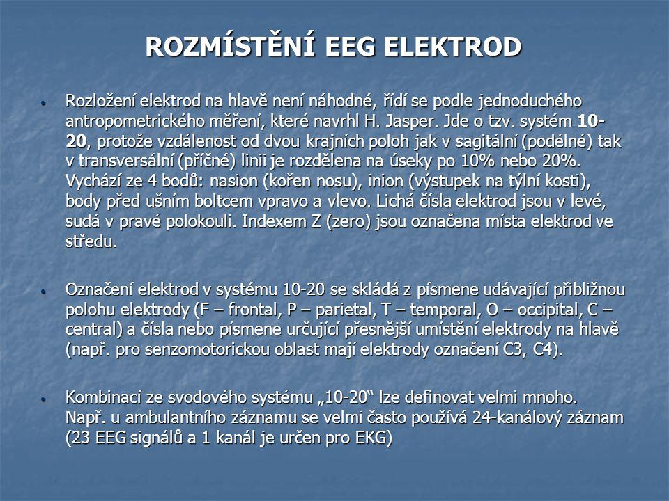 ROZMÍSTĚNÍ EEG ELEKTROD ROZMÍSTĚNÍ EEG ELEKTROD Rozložení elektrod na hlavě není náhodné, řídí se podle jednoduchého antropometrického měření, které n