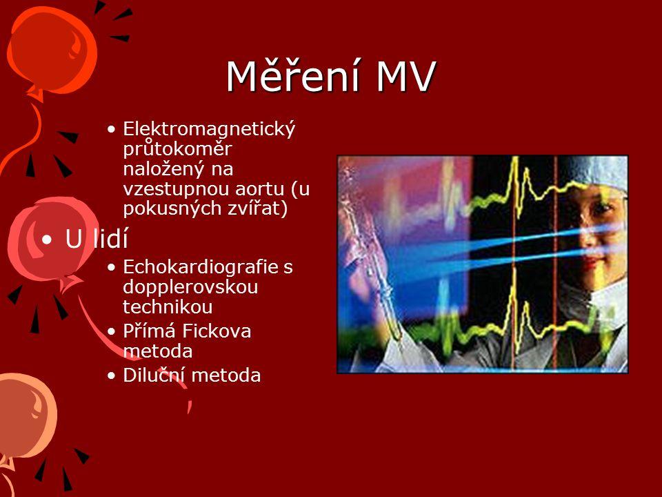 Měření MV Elektromagnetický průtokoměr naložený na vzestupnou aortu (u pokusných zvířat) U lidí Echokardiografie s dopplerovskou technikou Přímá Fickova metoda Diluční metoda