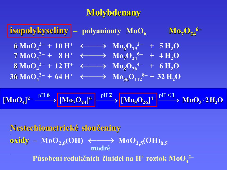 Molybdenany isopolykyseliny Mo 7 O 24 6 – isopolykyseliny – polyanionty MoO 6 Mo 7 O 24 6 – [MoO 4 ] 2– [Mo 7 O 24 ] 6– [Mo 8 O 26 ] 4– MoO 3 · 2 H 2