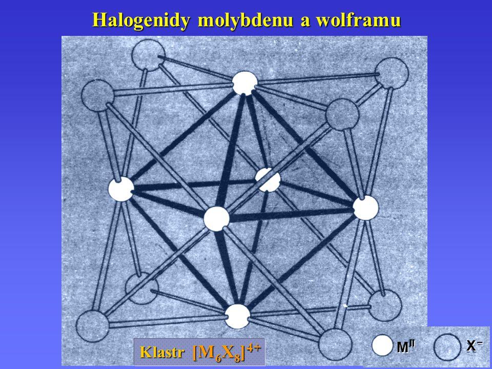 Halogenidy molybdenu a wolframu Klastr [M 6 X 8 ] 4 + X –X –X –X – M II