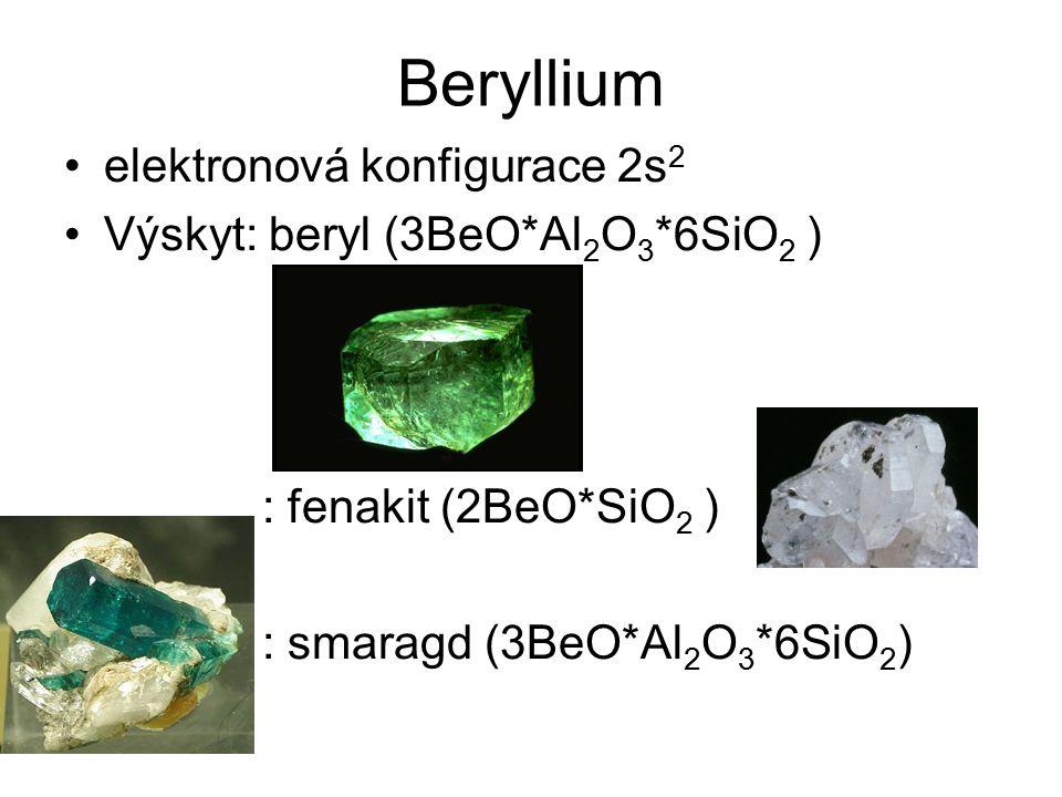 Beryllium elektronová konfigurace 2s 2 Výskyt: beryl (3BeO*Al 2 O 3 *6SiO 2 ) : fenakit (2BeO*SiO 2 ) : smaragd (3BeO*Al 2 O 3 *6SiO 2 )