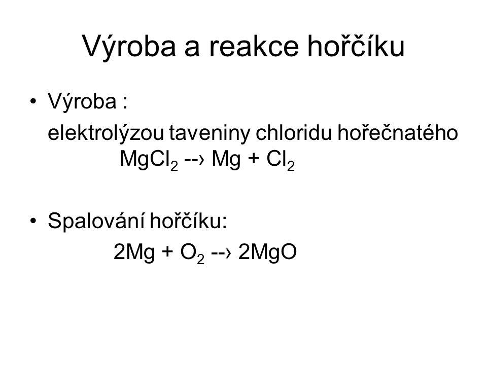 Výroba a reakce hořčíku Výroba : elektrolýzou taveniny chloridu hořečnatého MgCl 2 --› Mg + Cl 2 Spalování hořčíku: 2Mg + O 2 --› 2MgO
