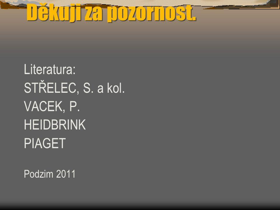 Děkuji za pozornost. Literatura: STŘELEC, S. a kol. VACEK, P. HEIDBRINK PIAGET Podzim 2011