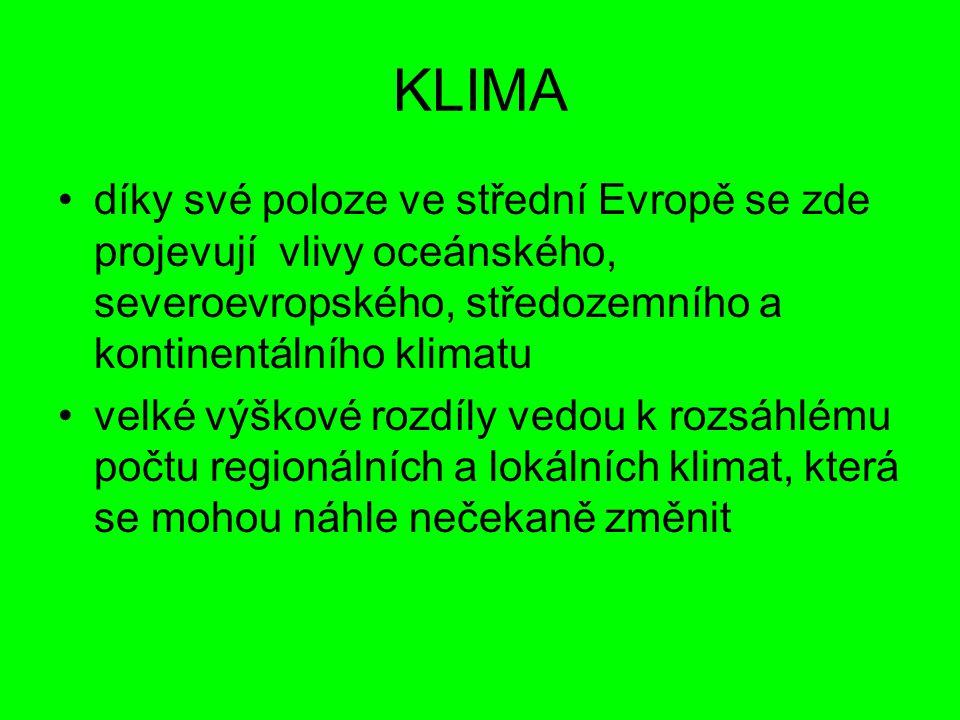 KLIMA díky své poloze ve střední Evropě se zde projevují vlivy oceánského, severoevropského, středozemního a kontinentálního klimatu velké výškové roz