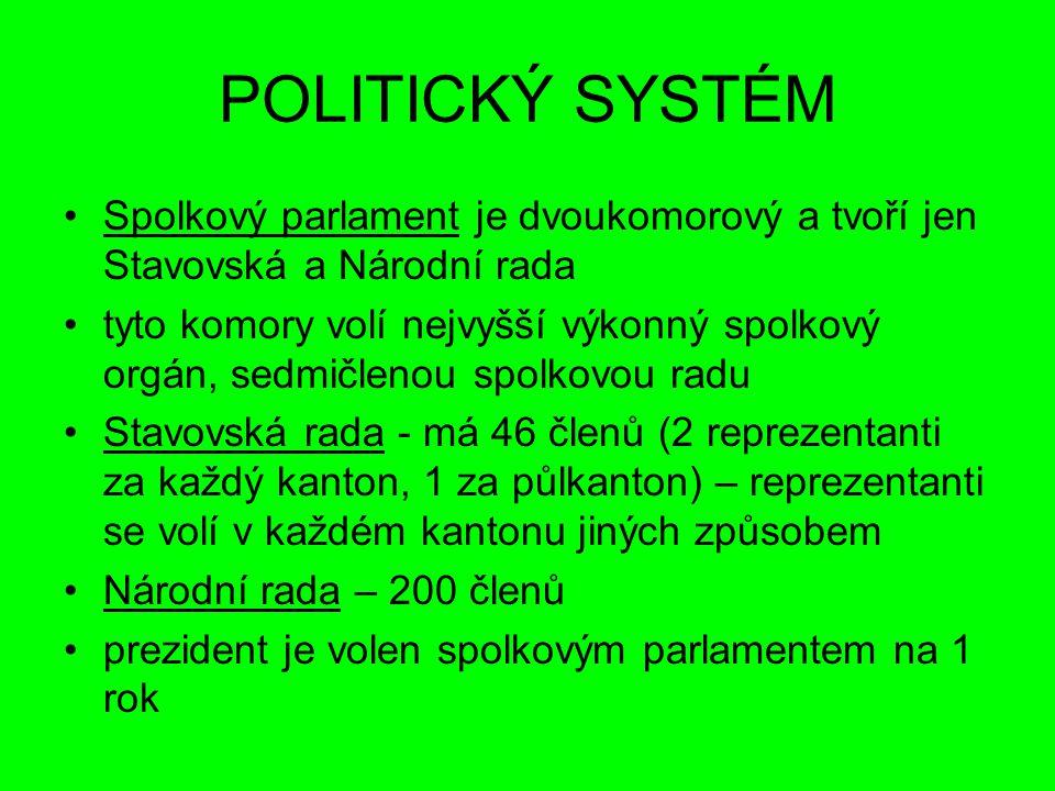 POLITICKÝ SYSTÉM Spolkový parlament je dvoukomorový a tvoří jen Stavovská a Národní rada tyto komory volí nejvyšší výkonný spolkový orgán, sedmičlenou