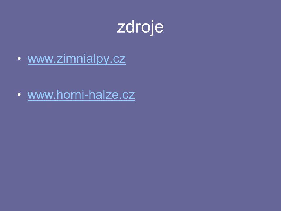 zdroje www.zimnialpy.cz www.horni-halze.cz