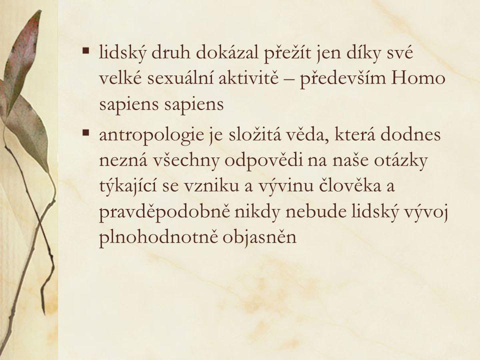 8. Závěr  vývojová větev člověka není přímočará, ale je složena z mnoha druhů a poddruhů člověka, z nichž jen některé se podílely na naší dnešní podo