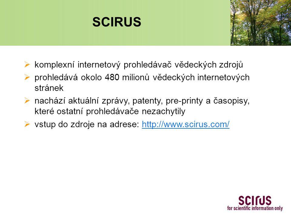 SCIRUS  komplexní internetový prohledávač vědeckých zdrojů  prohledává okolo 480 milionů vědeckých internetových stránek  nachází aktuální zprávy, patenty, pre-printy a časopisy, které ostatní prohledávače nezachytily  vstup do zdroje na adrese: http://www.scirus.com/http://www.scirus.com/