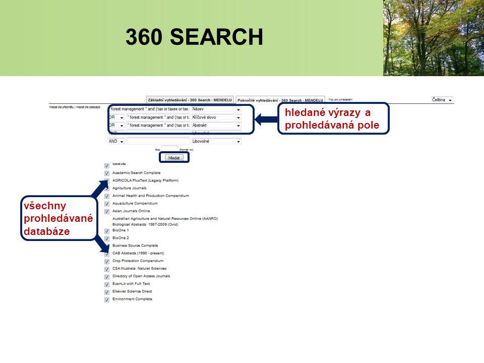 všechny prohledávané databáze hledané výrazy a prohledávaná pole 360 SEARCH