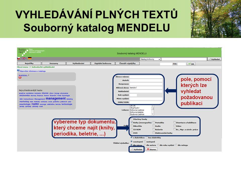 VYHLEDÁVÁNÍ PLNÝCH TEXTŮ Souborný katalog MENDELU pole, pomocí kterých lze vyhledat požadovanou publikaci vybereme typ dokumentu, který chceme najít (knihy, periodika, beletrie,...)
