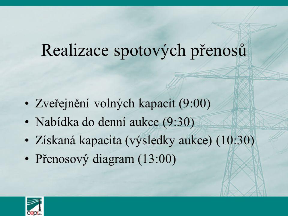 Ceny Cena za kapacitu – podle aukčních pravidel – Kodex PS –Podle výsledků aukce –Placena měsíčně (roční a měsíční) nebo týdně (denní) Cena za přenos – podle cenového rozhodnutí ERÚ –Cena za tranzit = 0 –Cena za dovoz = 0 –Cena za přístup k síti pro vývoz = 28,4 Kč/MWh (v zemích EU = 0)