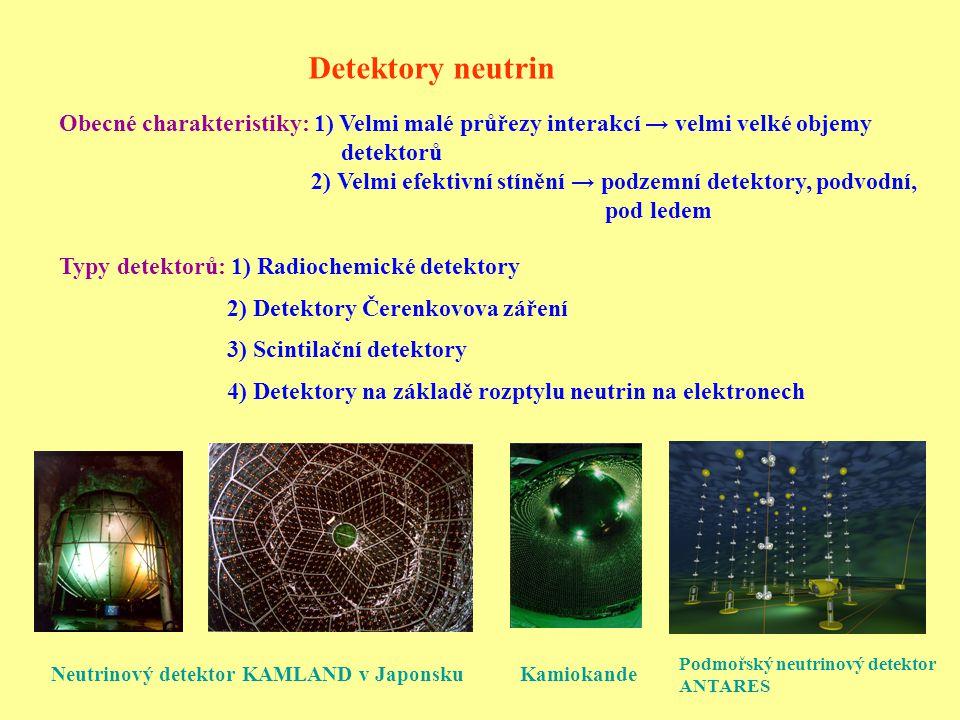 Detektory neutrin Obecné charakteristiky: 1) Velmi malé průřezy interakcí → velmi velké objemy detektorů 2) Velmi efektivní stínění → podzemní detektory, podvodní, pod ledem Typy detektorů: 1) Radiochemické detektory 2) Detektory Čerenkovova záření 3) Scintilační detektory 4) Detektory na základě rozptylu neutrin na elektronech Neutrinový detektor KAMLAND v Japonsku Podmořský neutrinový detektor ANTARES Kamiokande