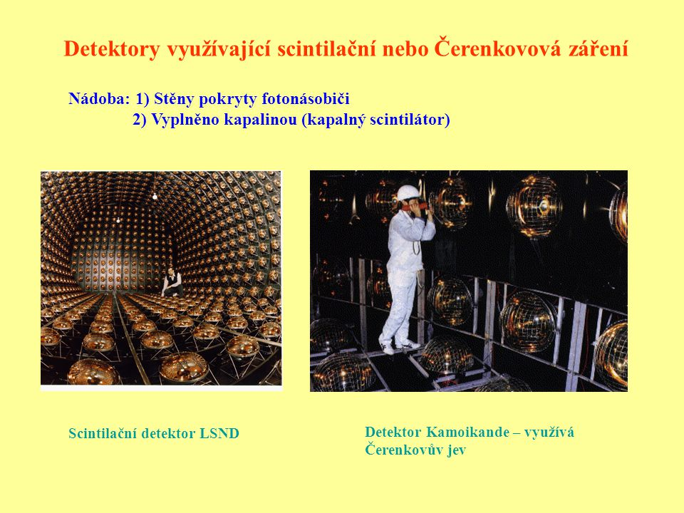 Detektor KAMLAND těžká voda – reakce neutrin z deuteronem: Fotonásobič detektoru KAMLAND Detektor KAMLAND Reakce všech neutrin a antineutrin: Reakce pouze elektronových neutrin: (kapalný scintilátor)