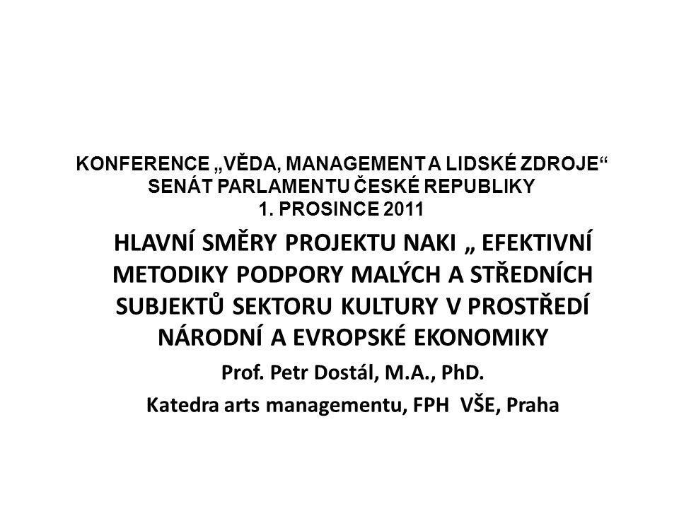 HLAVNÍ CÍLE PROJEKTU Projekt patří do tematické priority Ministerstva kultury 4.1 - prostředí pro rozvoj umění a uchování kulturního dědictví.