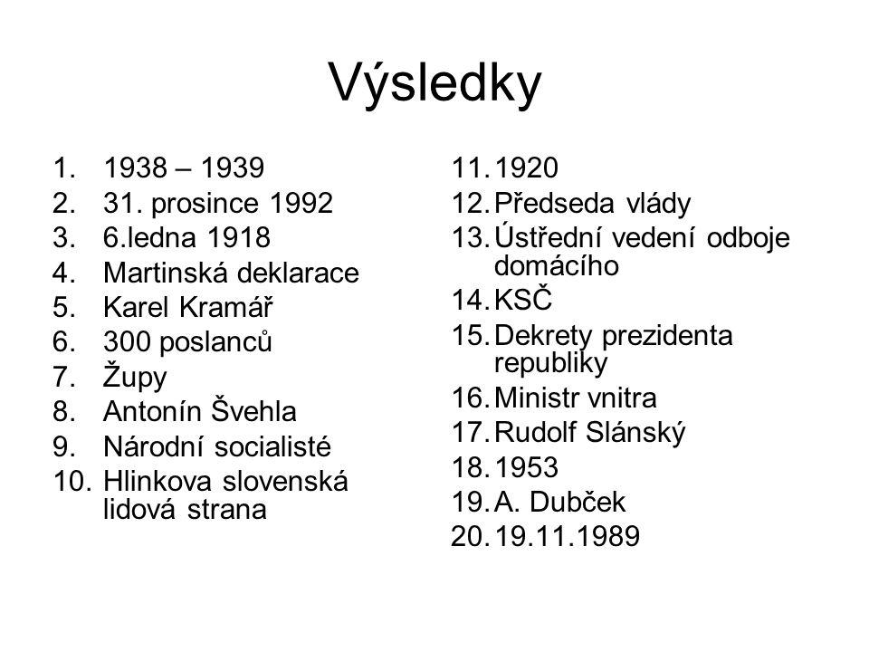 Výsledky 1.1938 – 1939 2.31. prosince 1992 3.6.ledna 1918 4.Martinská deklarace 5.Karel Kramář 6.300 poslanců 7.Župy 8.Antonín Švehla 9.Národní social
