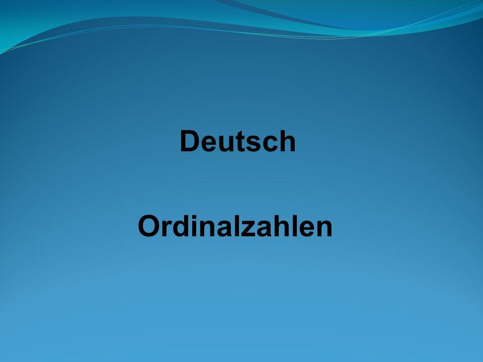Deutsch Ordinalzahlen