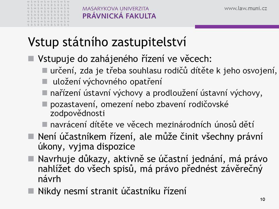 www.law.muni.cz 10 Vstup státního zastupitelství Vstupuje do zahájeného řízení ve věcech: určení, zda je třeba souhlasu rodičů dítěte k jeho osvojení,
