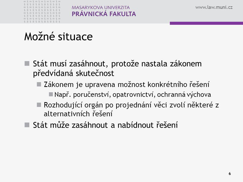 www.law.muni.cz 6 Možné situace Stát musí zasáhnout, protože nastala zákonem předvídaná skutečnost Zákonem je upravena možnost konkrétního řešení Např