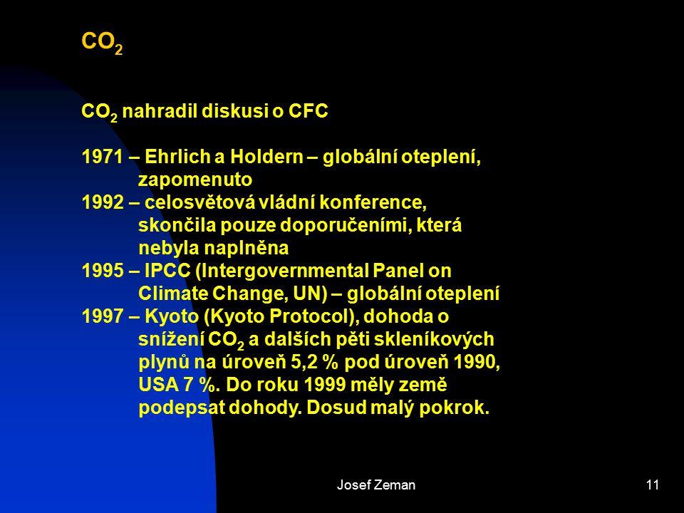 Josef Zeman11 CO 2 CO 2 nahradil diskusi o CFC 1971 – Ehrlich a Holdern – globální oteplení, zapomenuto 1992 – celosvětová vládní konference, skončila
