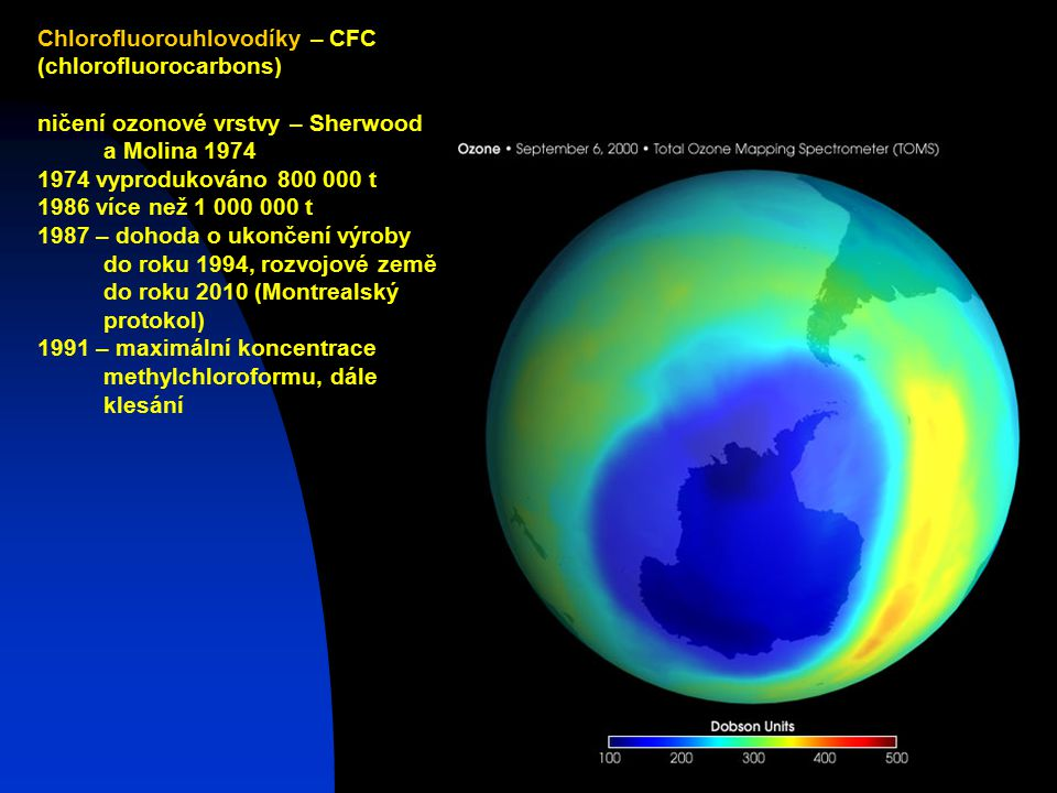 Josef Zeman3 Chlorofluorouhlovodíky – CFC (chlorofluorocarbons) ničení ozonové vrstvy – Sherwood a Molina 1974 1974 vyprodukováno 800 000 t 1986 více