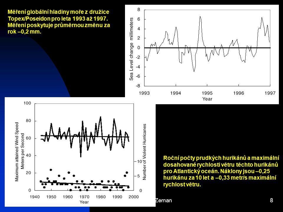 Josef Zeman8 Měření globální hladiny moře z družice Topex/Poseidon pro leta 1993 až 1997. Měření poskytuje průměrnou změnu za rok –0,2 mm. Roční počty