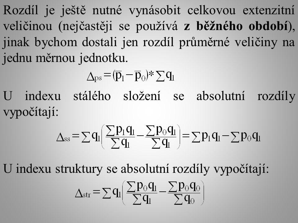 Rozdíl je ještě nutné vynásobit celkovou extenzitní veličinou (nejčastěji se používá z běžného období), jinak bychom dostali jen rozdíl průměrné veličiny na jednu měrnou jednotku.